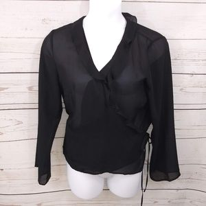 Newport News Top Black Sheer Crossover Blouse A34